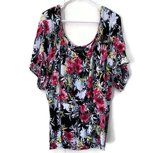Lane Bryant Factory Women Top Size 24 Black Floral